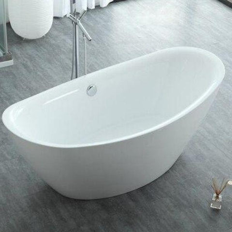 "Legion Furniture Acrylic 71"" White Freestanding Bathtub WE6842 Front Top View"