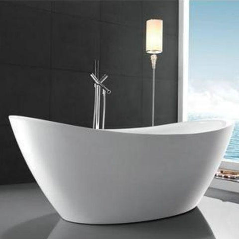 "Legion Furniture Acrylic 71"" White Freestanding Bathtub WE6842 Front View"
