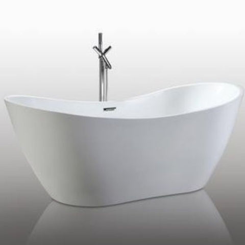 "Legion Furniture Acrylic 71"" White Soaking Freestanding Bathtub WE6846 Front Side View"