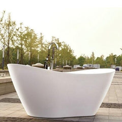 "Legion Furniture Acrylic 71"" White Soaking Freestanding Bathtub WE6846 Side Front View"