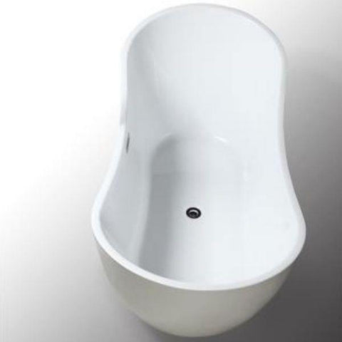 Legion Furniture Acrylic 71 White Soaking Freestanding Bathtub WE6846 Side Top View