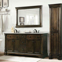 Legion Furniture Antique Coffee Sink Vanity With Carrara White Top And Matching Backsplash Without Faucet WLF6036 Side View