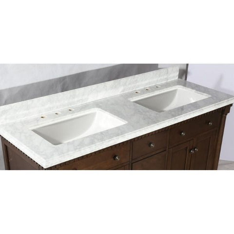 Legion Furniture Antique Coffee Sink Vanity With Carrara White Top And Matching Backsplash Without Faucet WLF6036 Sink View