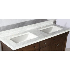 Legion Furniture Antique Coffee Sink Vanity With Carrara White Top And Matching Backsplash Without Faucet WLF6036