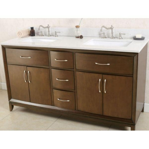 Legion Furniture Antique Coffee Sink Vanity with Quartz Top No Faucet WLF7030 Side Front View