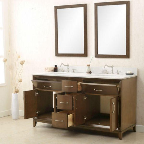 Legion Furniture Antique Coffee Sink Vanity with Quartz Top No Faucet WLF7030 Storage View