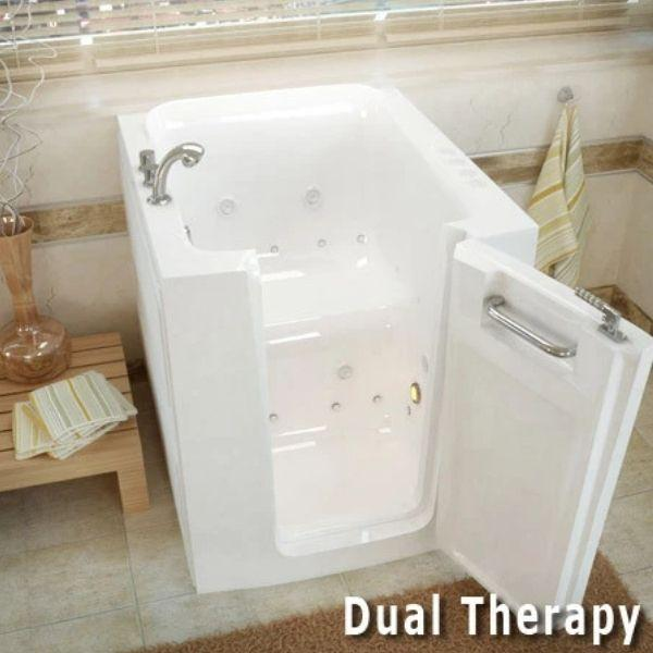 Meditub Walk-In Bathtubs Air Jetted White Bathtub 3238LWA Dual Therapy View