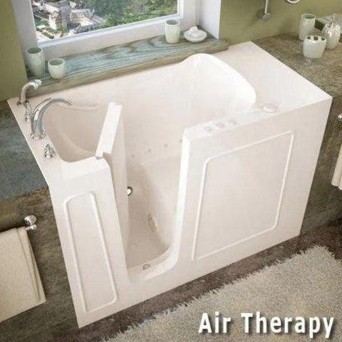 Meditub Walk-In Bathtubs Drain White Soaking Bathtub 2653LWS Left door Side  Air Therapy View