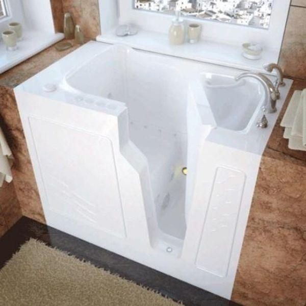 Meditub Walk-In Drain Air Jetted Biscuit Bathtub 2646LBA  Right Front View