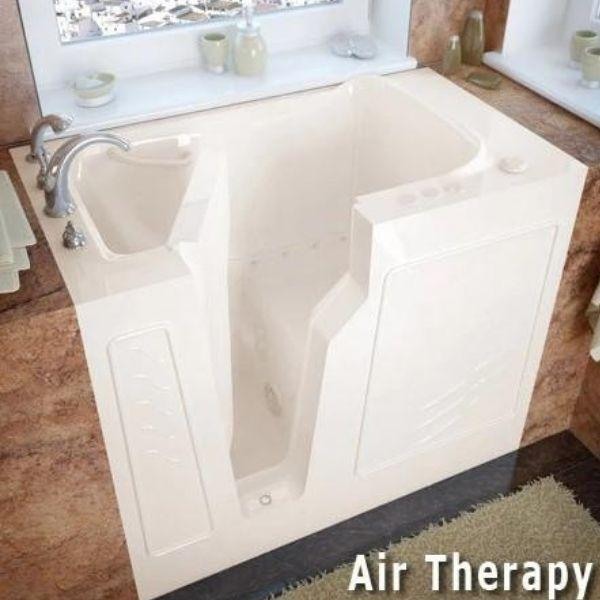 Meditub Walk-In Left Drain Air Jetted Biscuit Bathtub 2646 LBA Air Therapy View