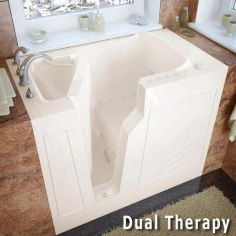 Meditub Walk-In Left Drain Air Jetted Biscuit Bathtub 2646 LBA Dual Therapy View