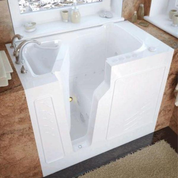 Meditub Walk-In Left Drain Air Jetted Biscuit Bathtub 2646 LBA White Front View
