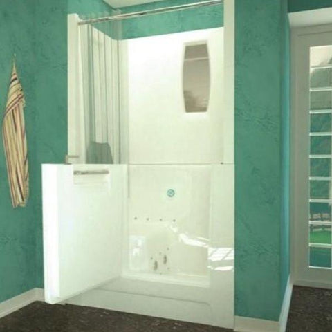 Meditub White Walk-In Bathtub 2747 with Shower Enclosure Front View