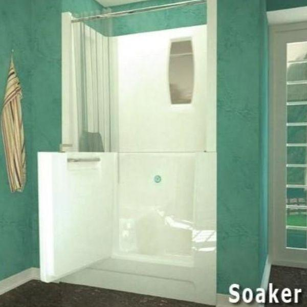 Meditub White Walk-In Bathtub 2747 with Shower Enclosure Soaker View