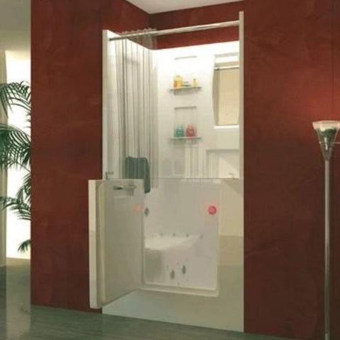 Meditub White Walk-In Bathtub 3140 With Shower Enclosure Front View
