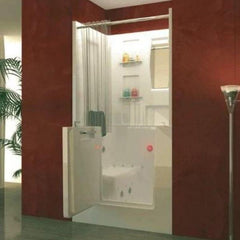 Image of Meditub White Walk-In Bathtub 3140 With Shower Enclosure