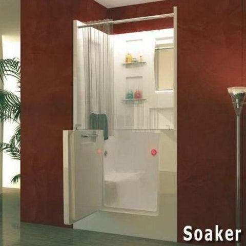 Meditub White Walk-In Bathtub 3140 With Shower Enclosure Soaker View