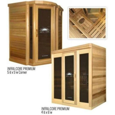 Saunacore Infra-Core Premium Series Infrared Sauna 5dX5w Core and 4dX6w View