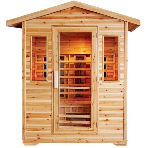 Saunas SunRay Cayenne Outdoor Infrared Sauna Front View HL400D