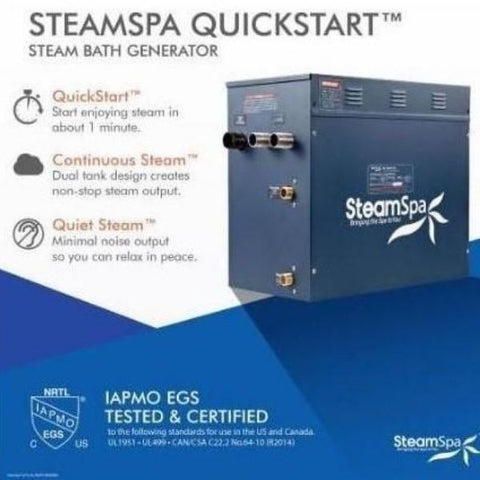 Steam Spa Quick Start Indulgence 10.5K WAcu- Steam Bath Generator IN1050CH  Steam Spa Quick  Start View
