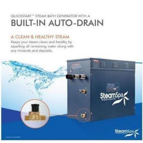 SteamSpa QuickStart Indulgence 10.5 KW Acu-Steam Bath Generator IN1050GD Build in Auto Drain View