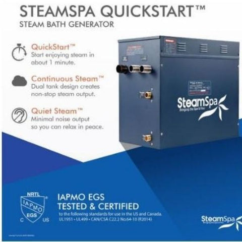 Steam Spa QuickStart Indulgence 10.5KWAcu-Steam Bath Generator IN1050OB Steamspa Quickstart View