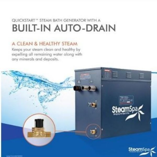 SteamSpa QuickStart Indulgence 10.5 KW Acu-Steam Bath Generator INT1050CH Auto Drain View