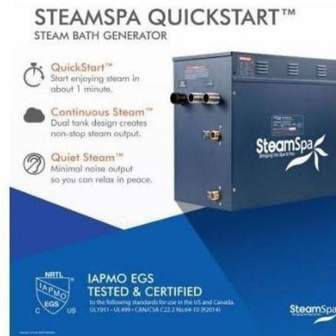 Steam Spa QuickStart Indulgence 12KW Acu-Steam Bath Generator IN1200CH SteamSpa QuickStart View