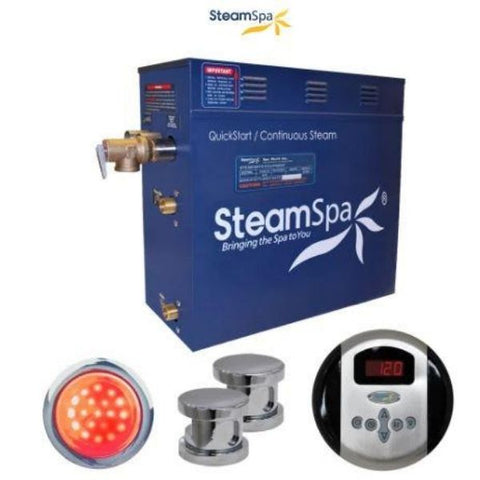 Steam Spa QuickStart Indulgence 12KW Acu-Steam Bath Generator IN1200CH Steam wo Polished Chroe View
