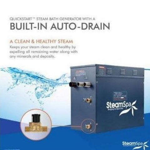 SteamSpa QuickStart Indulgence 12 KW Acu-Steam Bath Generator IN1200GD  Built in Auto Drain View