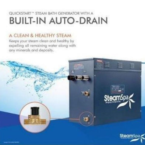 Steam Spa QuickStart Indulgence 4.5 KW Acu-Steam Bath Generator IN450GD Built in Auto Drain