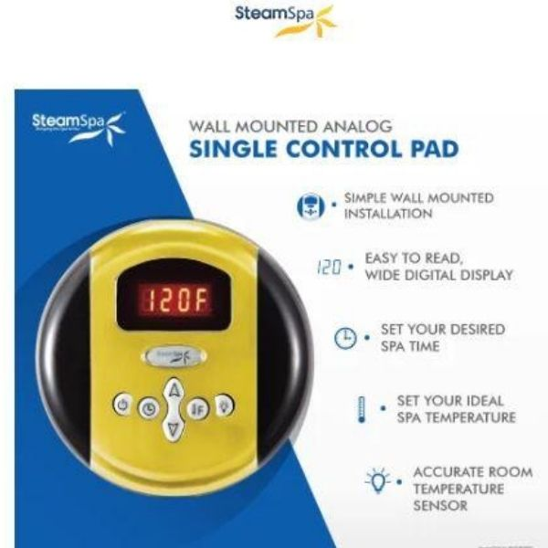 SteamSpa QuickStart Indulgence 4.5KW Acu-Steam Bath Generator IN450GD Round Control Pad View