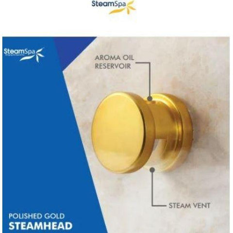 Steam Spa QuickStart Indulgence 4.5 KW Acu-Steam Bath Generator IN450GD Steam Head Brushed Gold View