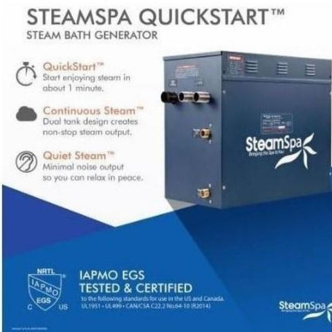 Steam Spa QuickStart Indulgence 4.5 KW Acu-Steam Bath Generator IN450GD Steam Spa Quick Start View
