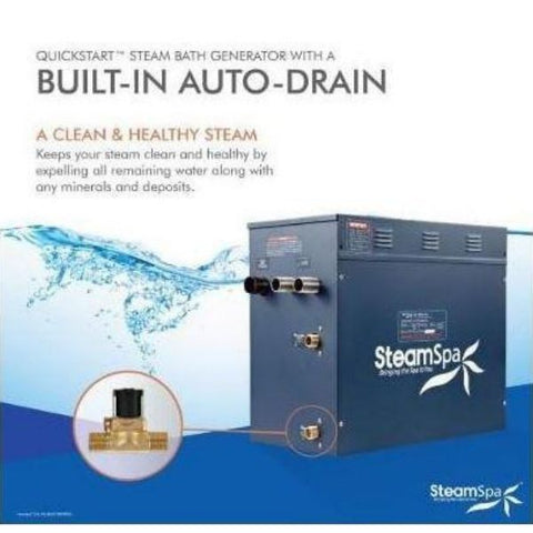 Steam Spa Steam Generators SteamSpa QuickStart Indulgence 10.5 KW Acu-Steam Bath Generator IN1050BN Built in Auto Drain View