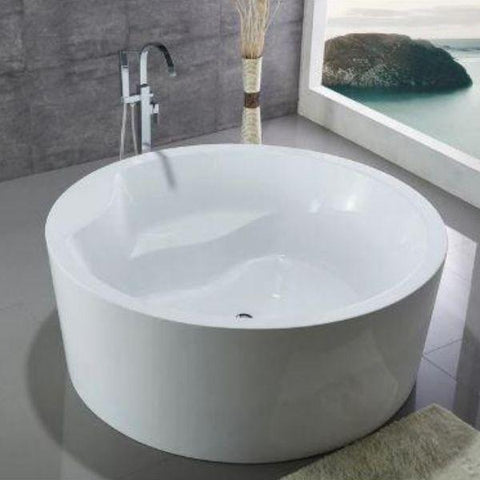 White Round Freestanding Bathtub Front Top View WE6810