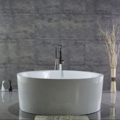White Round Freestanding Bathtub Front View  WE6810