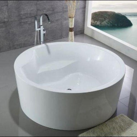 White Round Freestanding Bathtub WE6810 Front Top View
