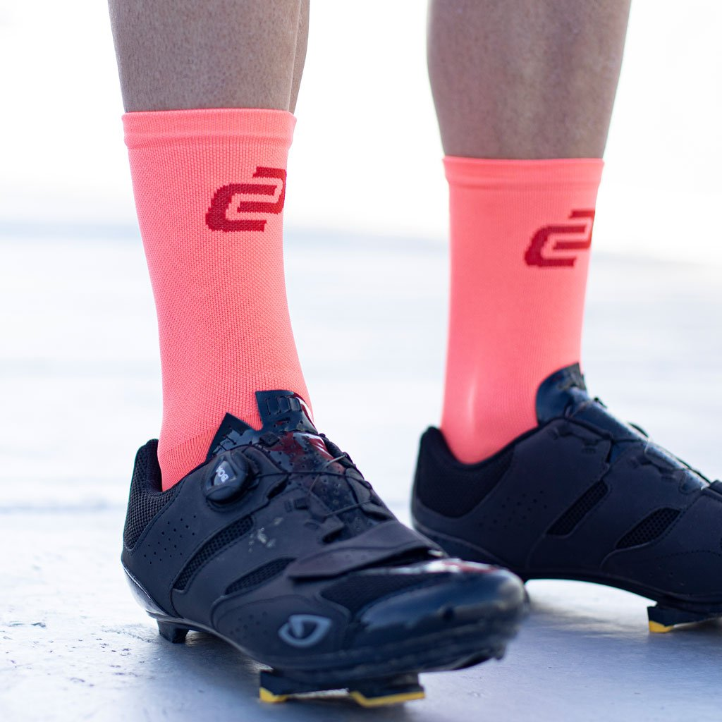 coral coloured cycling sock