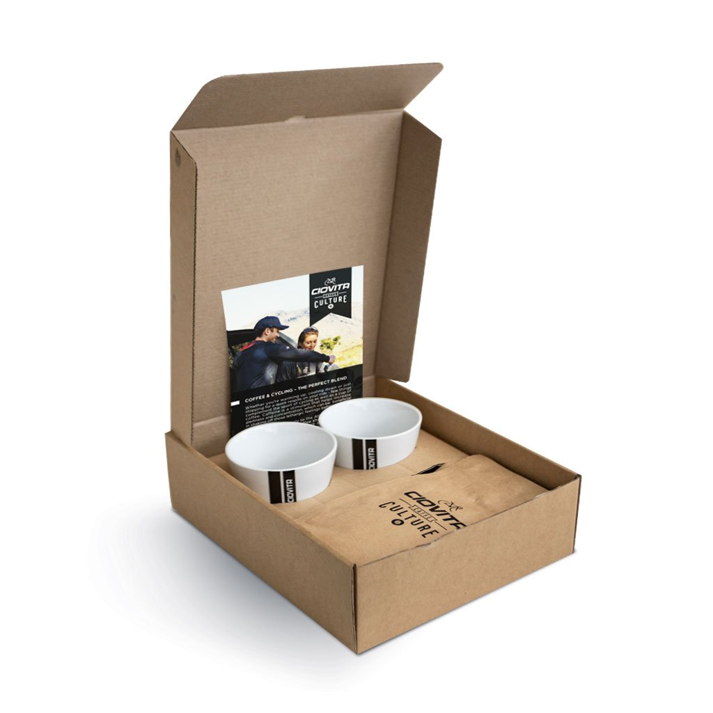 branded coffee giftbox with two cups and filter coffee