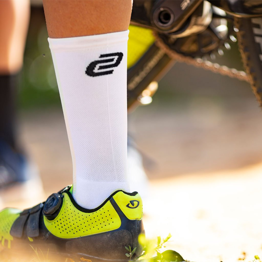 white cycling socks with breathable layer