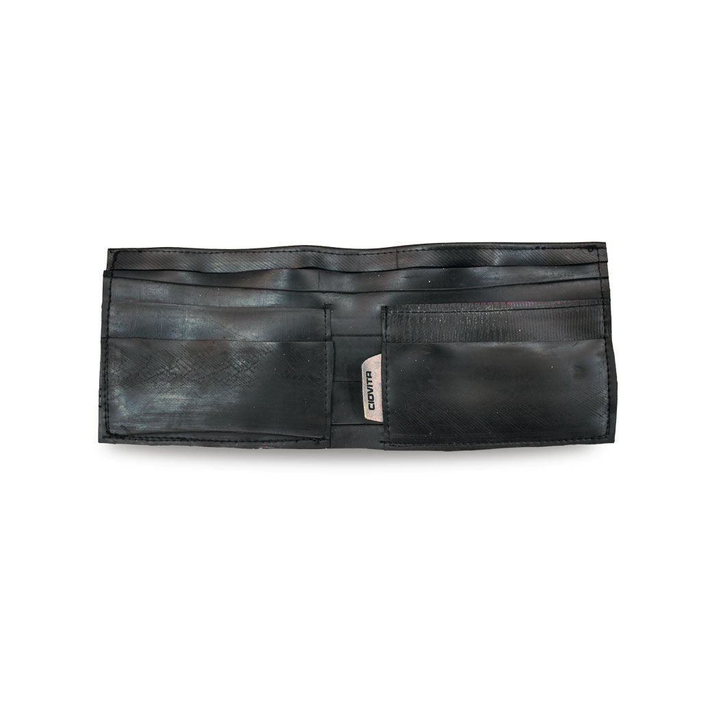 wallet made from recycled bicycle inner tubes