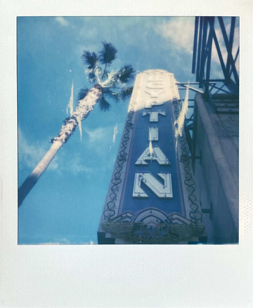 Egyptian Theatre Neon Sign Hollywood on Polaroid