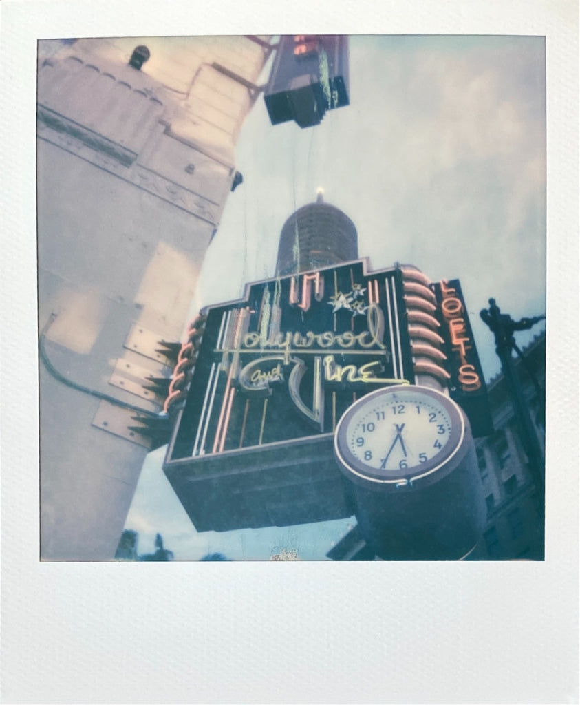 Hollywood and Vine Neon Sign on Polaroid