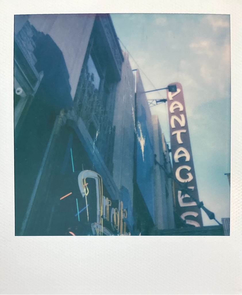 New Pantages Theatre Neon Sign in Hollywood and Frolic Room on Polaroid