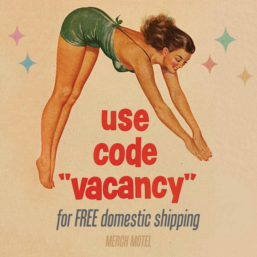 Merch Motel Vintage 1950s Advertisement Diving Lady Use Code Vacancy Retro Free Shipping
