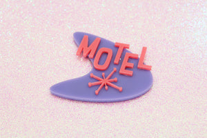 Purple Boomerang Motel Sign Magnet