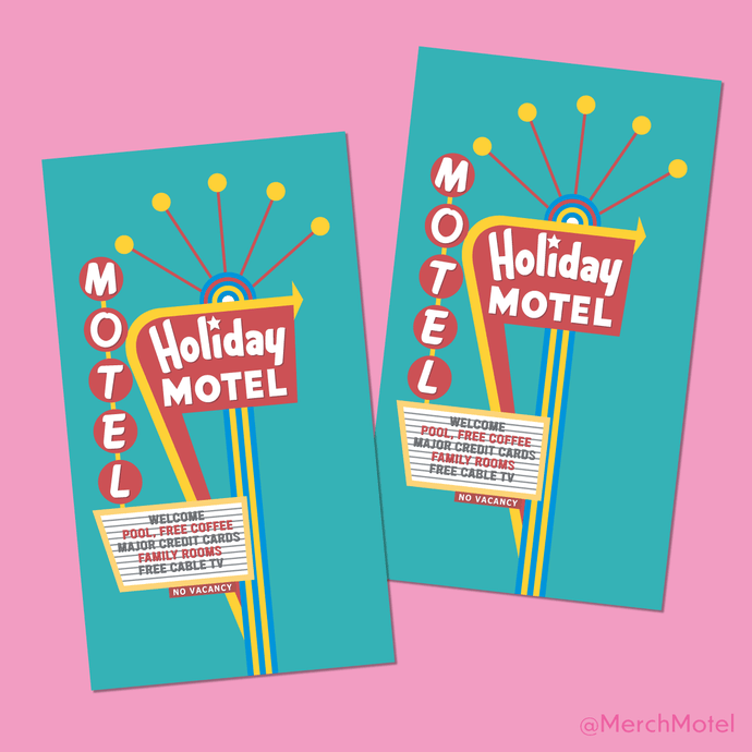 Vintage Retro Las Vegas Holiday Motel Sign Sticker by Merch Motel