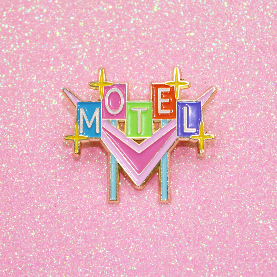 Retro Vintage Motel Neon Sign Enamel Pin by Merch Motel