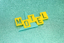 Load image into Gallery viewer, Teal and Yellow Motel Sign Magnet